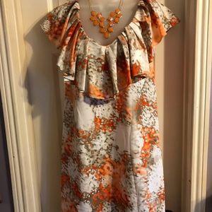 Apostrophe multi colored oranges dress Sz S
